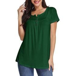 e1821105a682 Xpenyo Women Short Sleeve Blouse Henley Shirts V Neck Tops Button Up Tunic  Casual T Shirts