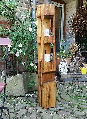 Altholz teelicht laterne windlicht xl balken skulptur stele holzs ule sauna windlicht - Baumstamm deko laterne ...