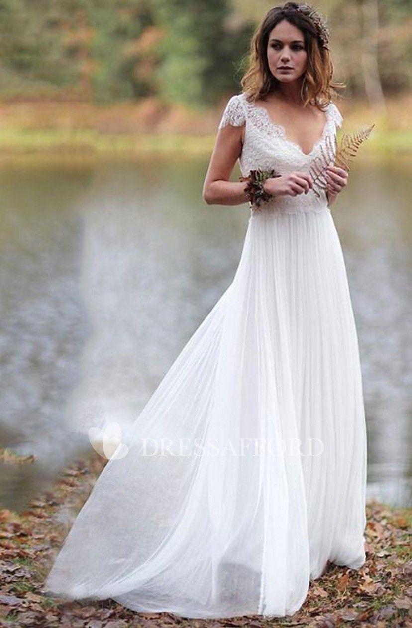 Simple Sheath Chiffon And Lace Cap Sleeve Wedding Dress Simple Wedding Dress Casual Wedding Cap Sleeves Wedding Dress Cap Sleeves