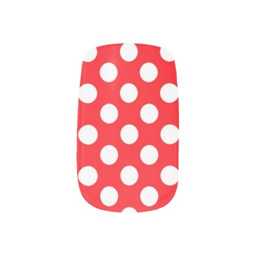 Red and White Polka Dots Nail Art #nails #nailart #fashion #style