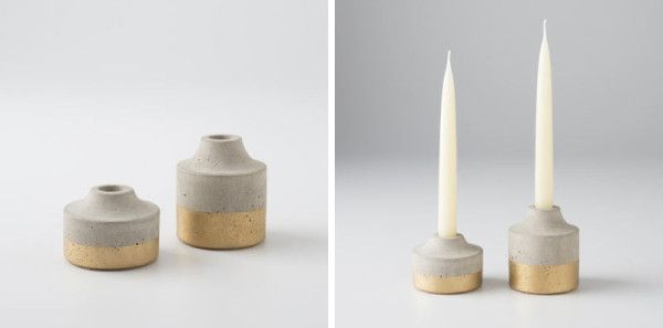 Painted Concrete Candleholder – Gold from Schoolhouse Electric & Supply Co