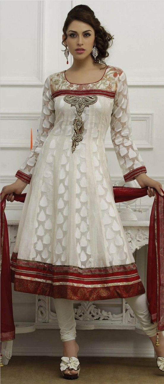 Off #White Chanderi and Net Flared #Churidar Kameez @ $163.72