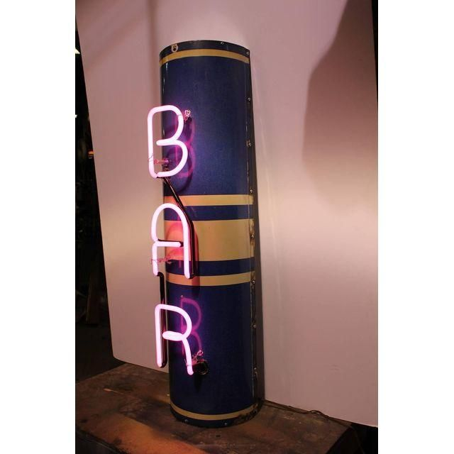 Image of Art Deco Pink Neon BAR Sign