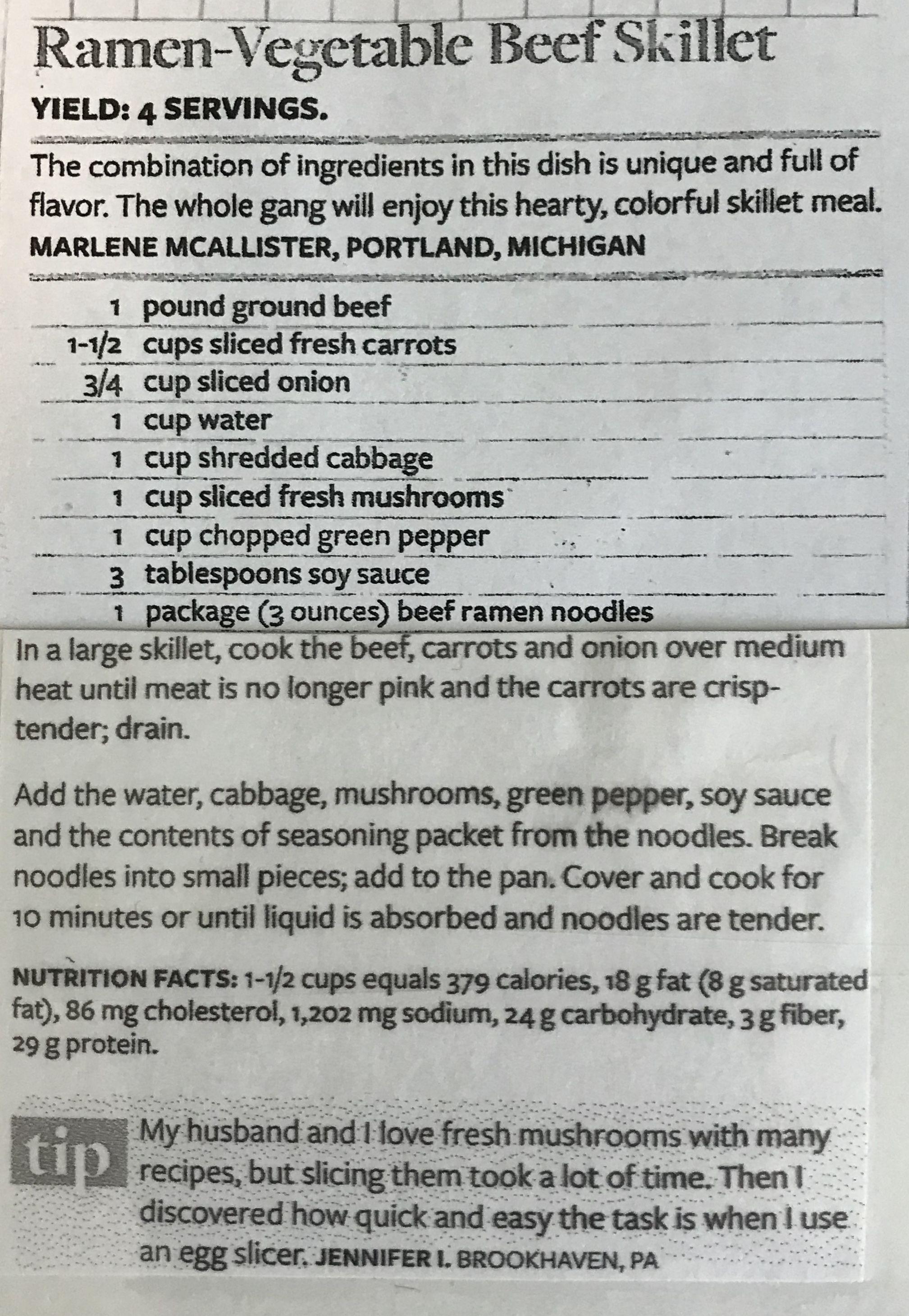 Ramen Vegetable Beef Skillet Ramen Noodle Recipes Beef Recipes Beef