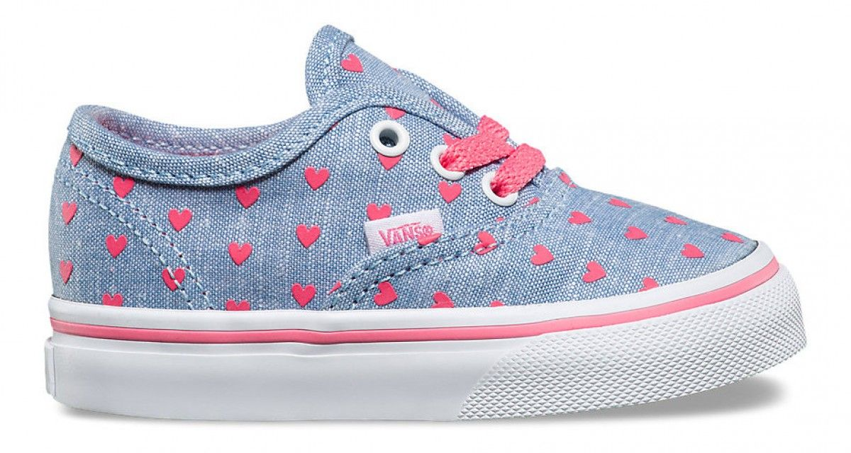 3f7d6905faed72 Vans Toddler Authentic (Chambray Hearts) Blue True White