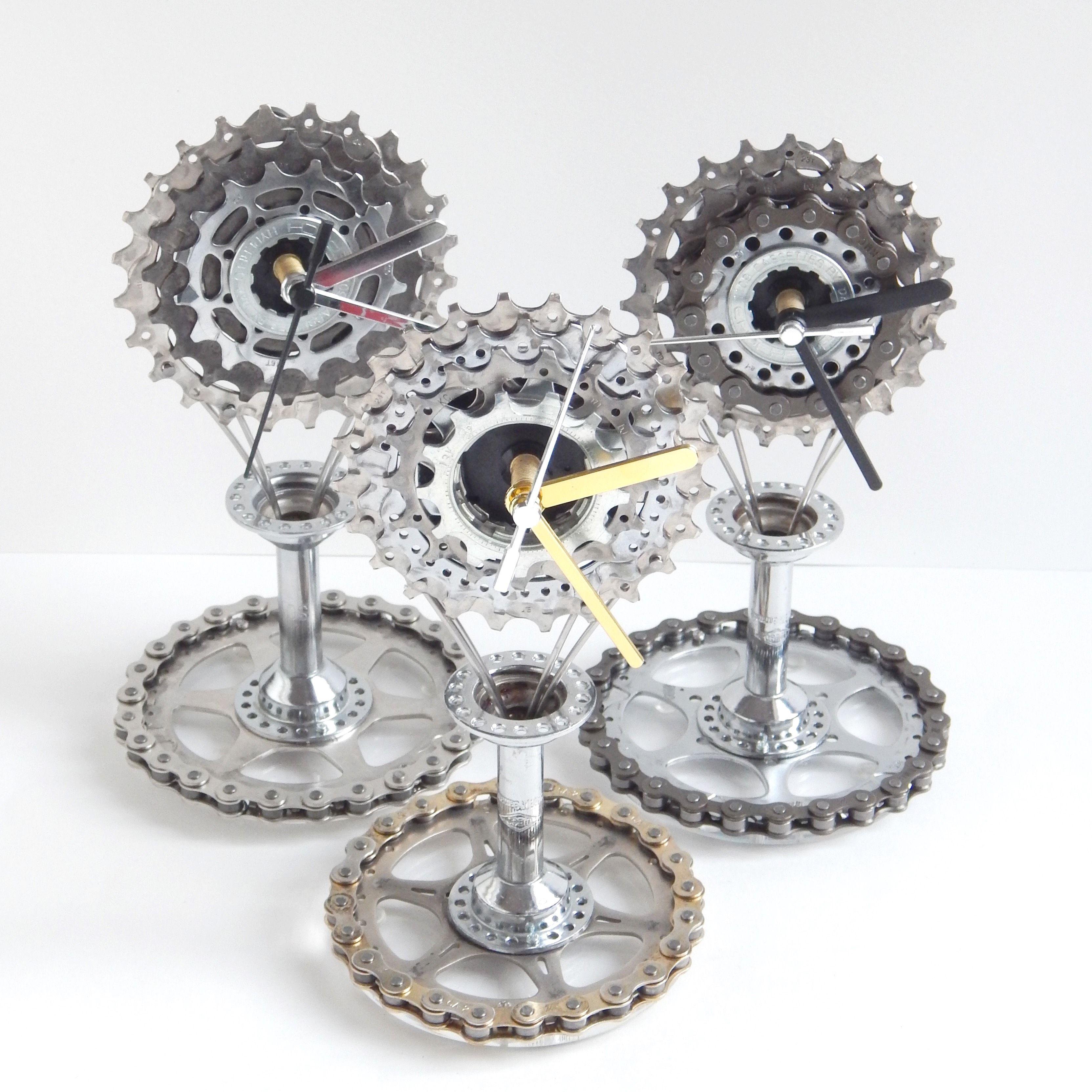 unique design by recycle u0026 bicycle recycled bike cassette u0026 hub mantel desk clock
