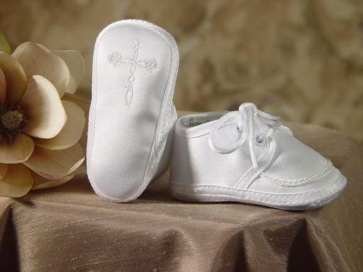 Boys Polyester Satin Oxford Christening Shoes Baptism Shoes with Celtic Cross