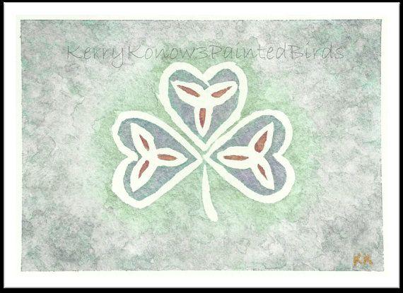 Celtic Shamrock - Irish Symbol - Original Watercolor - 5 x 7 ...