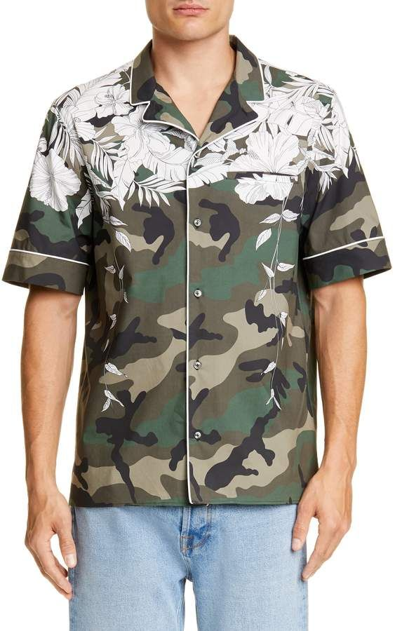 54b7e203dbb75 Valentino Camo Floral Slim Fit Camp Shirt in 2019 | Products ...