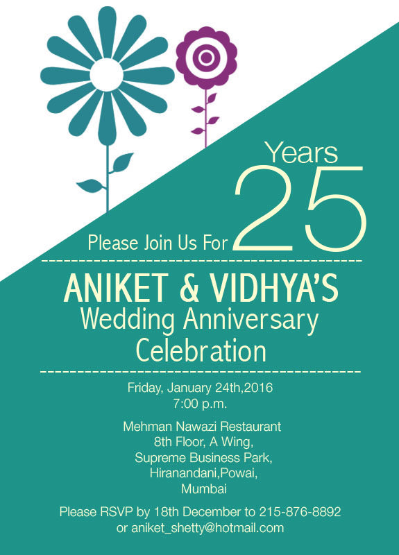 25th wedding anniversary invitation flower theme 25th silver 25th wedding anniversary invitation flower theme stopboris Image collections