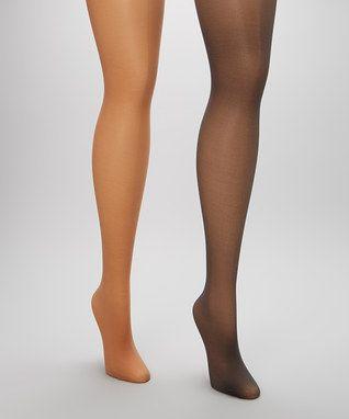 Nude & Black Tummy-Slimming Sheer Tights Set - Women & Plus