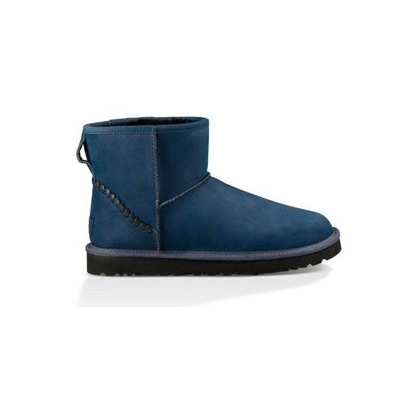 Ugg Classic Mini Deco Boots (565 SAR) ❤ liked on Polyvore featuring men's fashion, men's shoes, men's boots, navy, mens water proof boots, ugg mens boots, ...