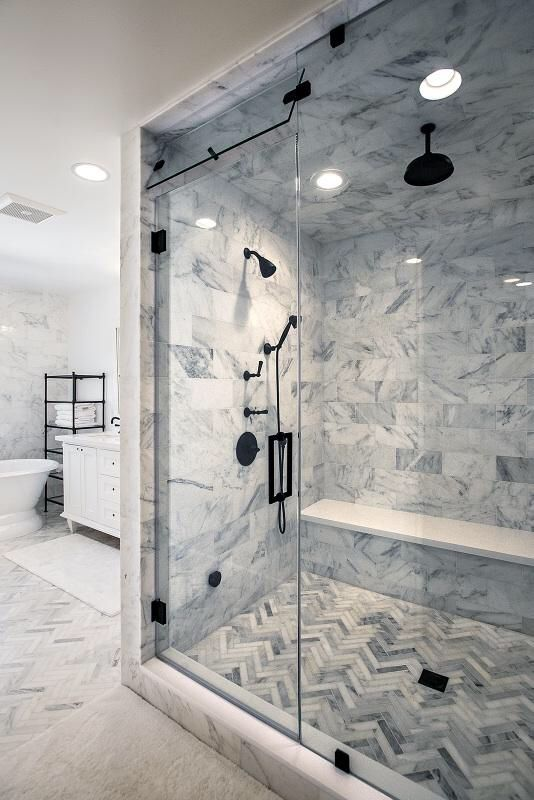 Master bath calacatta marble with oil rubbed bronze hardware Modern bathroom white bathroom