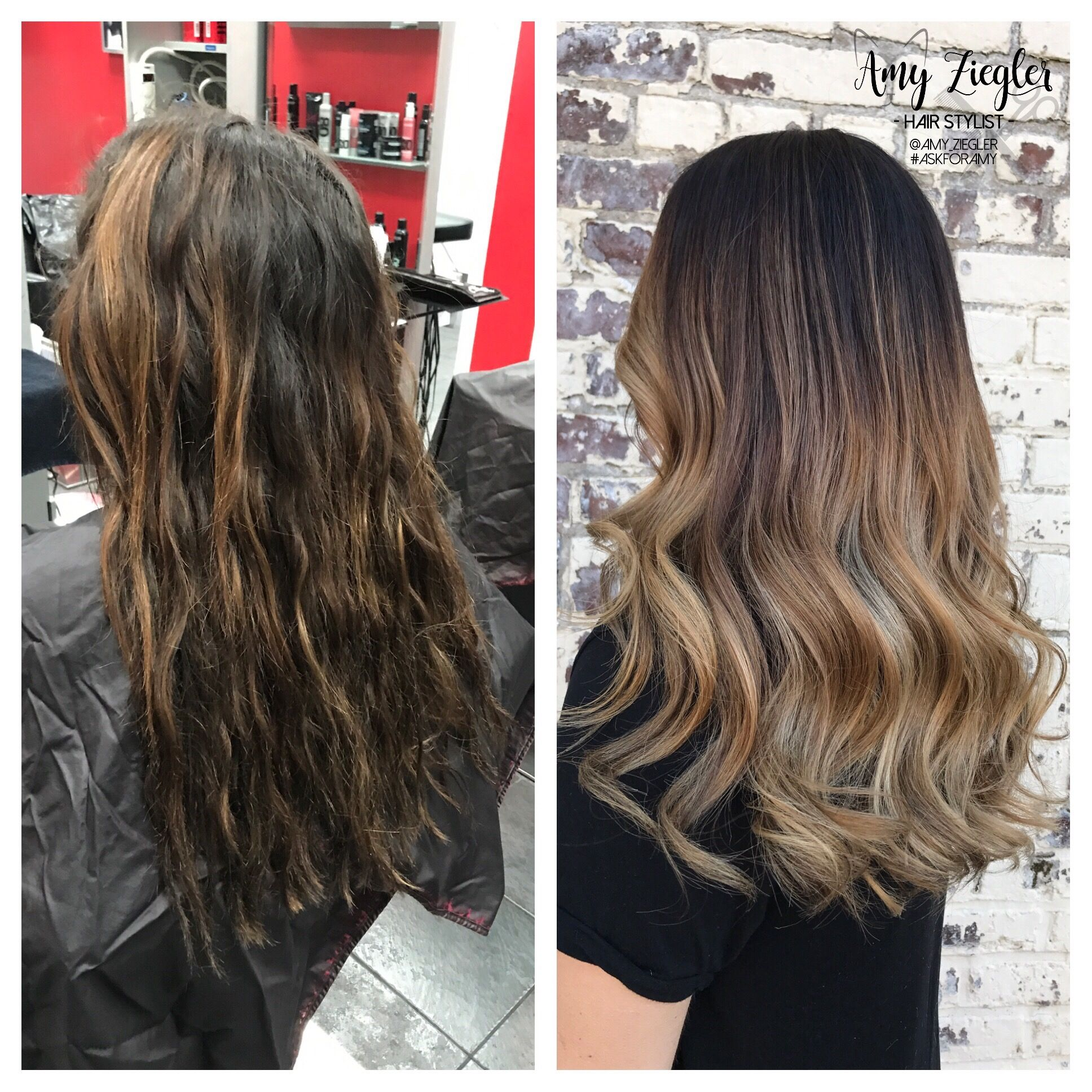 Before & after balayage ombre transformation by @amy_ziegler