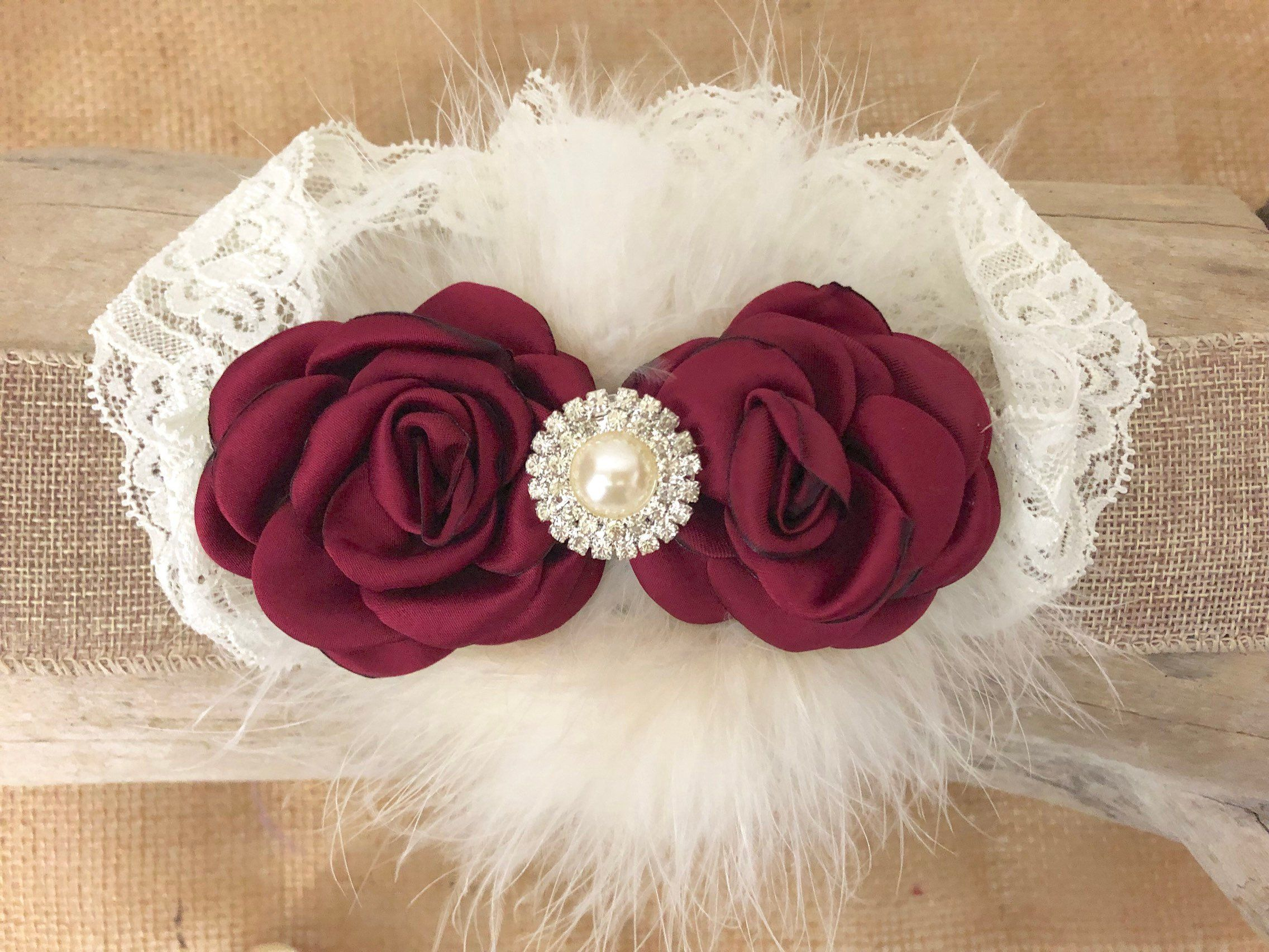 Burgundy and Cream Baby Headband Maroon Floral Hair Clip Burgundy Floral Lace Headband Girls Vintage Headband Cream Lace Hair Flower