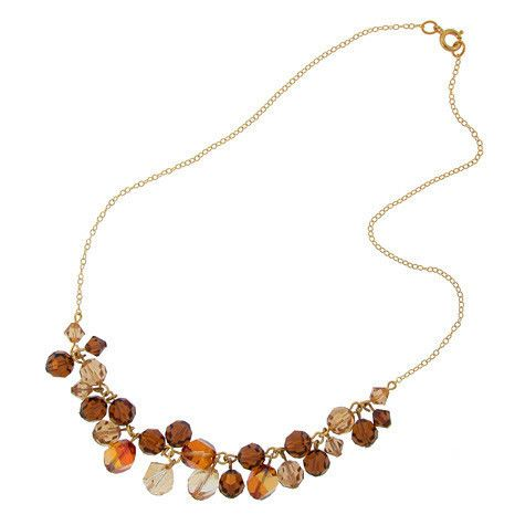 Champagne & Brown Clustered Crystal Necklace.  Made with 4 different colors of Swarovski crystal.  Assembled in USA.