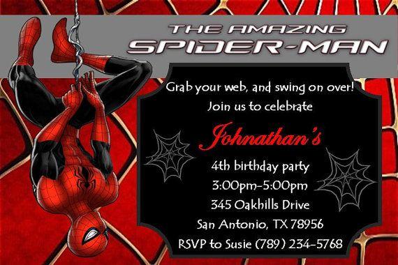 Spiderman Invitation 4x6 Jpeg File Editable Spiderman Party Spiderman Birthday Invit Spiderman Birthday Spiderman Birthday Invitations Spiderman Invitation