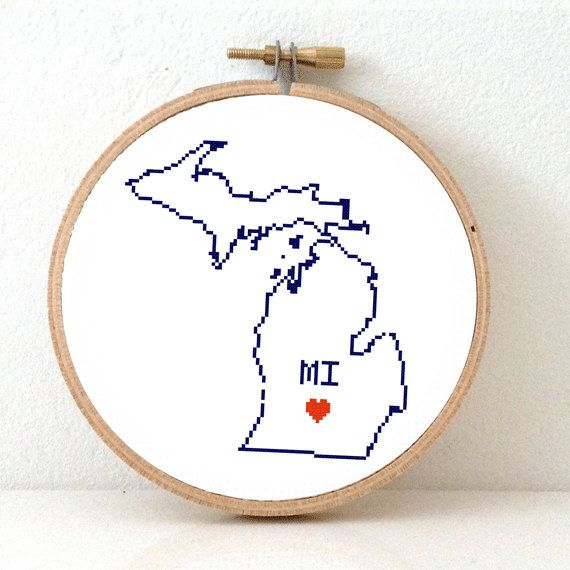Michigan map cross stitch pattern mi state needlepoint pattern michigan map cross stitch pattern mi state needlepoint pattern highlighting lansing usa decor publicscrutiny Image collections