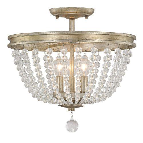 Handley Iced Gold Three Light 15 Inch Semi Flush Austin Allen Co