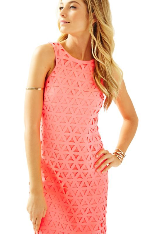 d64fea7ad933 The Mango Shift is a laser cut 19inch solid shift dress. This dress screams  summer party! You'll love the cut in neckline and custom Lilly color.
