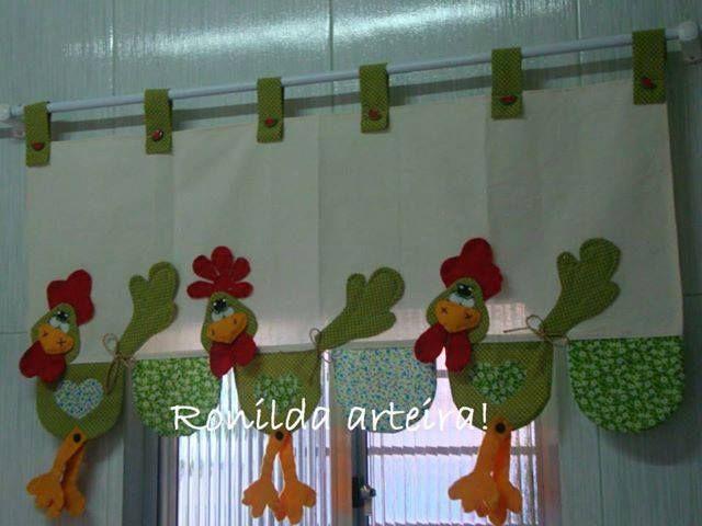 Cortinas y gallinas cortinas pinterest patchwork - Como colgar cortinas ...
