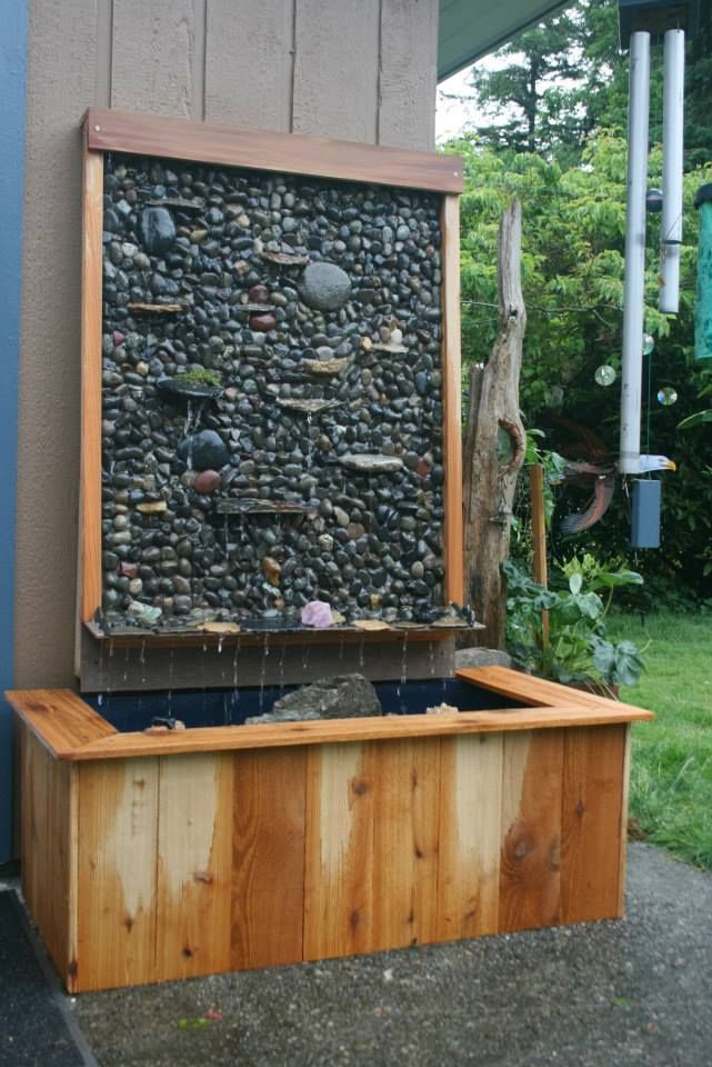 Water Wall Fountain We Made Using 50 Gallon Tote Pump We Had On