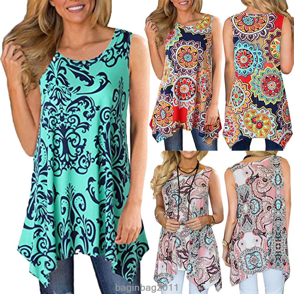 c2c767cf7fe Women Casual Printed Sleeveless Shirt Asymmetrical Loose Tunic Blouse Vest  Tops #Unbranded #Blouse #