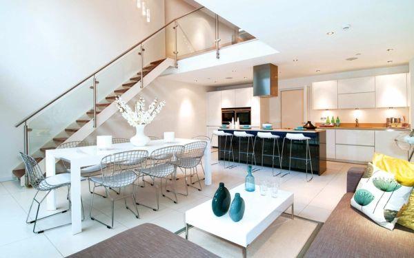 kombination von wohnzimmer und küche in einem raum tolles design - moderne einrichtungsideen wohnzimmer