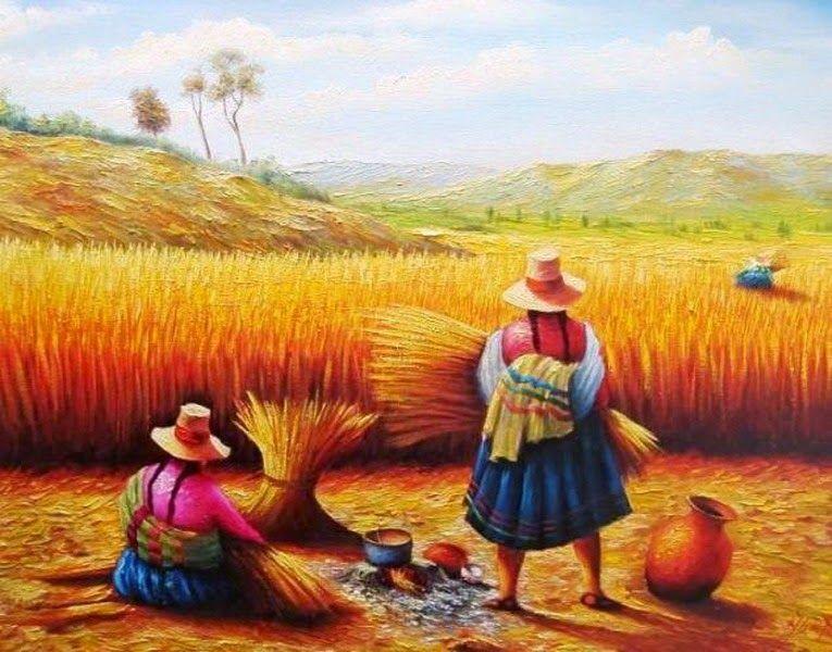 mujeres indigenas pinturas  Buscar con Google  Pimtura Andina