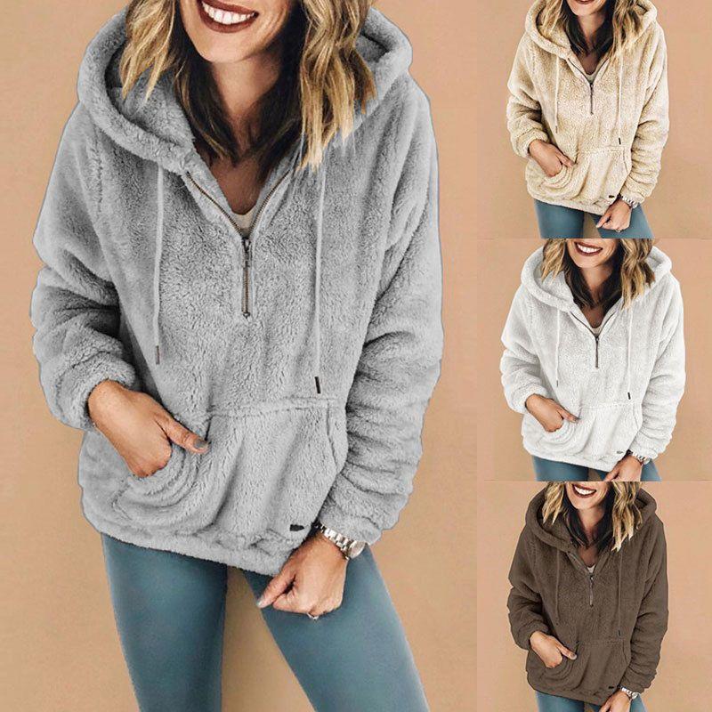 Hoodies for Women,Womens Sweaters Warm Fluffy Winter Top Hoodie Sweatshirt Ladies Hooded Pullover Jumper