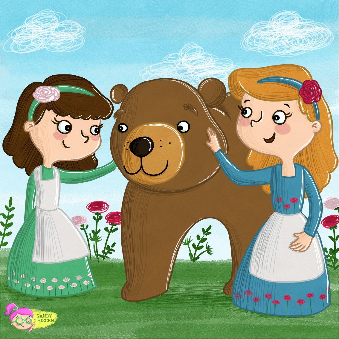Schneeweißchen und Rosenrot mit Bär, Märchen Illustration