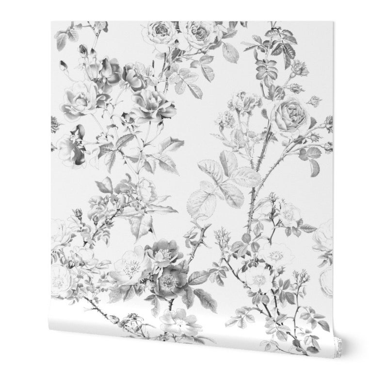 Floral Toile Wallpaper English Rose Black White By Etsy Toile Wallpaper Floral Toile Wallpaper