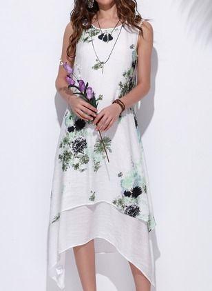 Vestidos Algodón Lino Floral Asimétrico Manga Corta 1040546