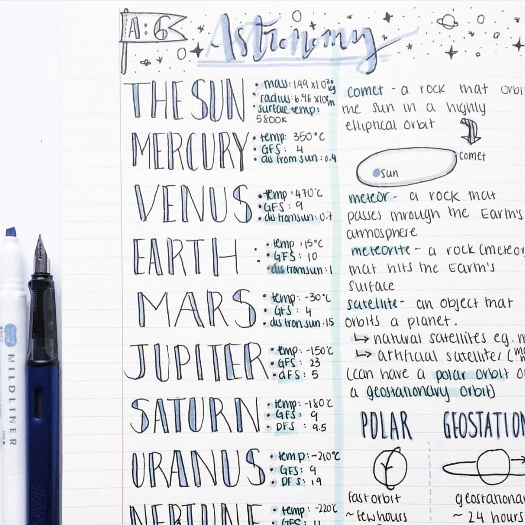amazing astronomy notes by . . . #studying#study#studyspo# ...