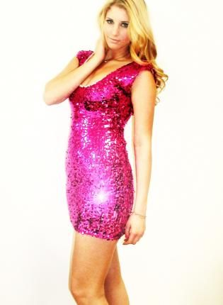 Plus Size Fuchsia Pink Capsleeve V-Back Dress, Dress, sequin dress ...