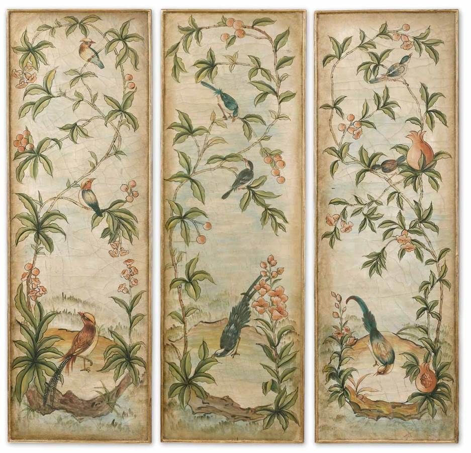 Uttermost Aviary Vintage Art Panels Set/3