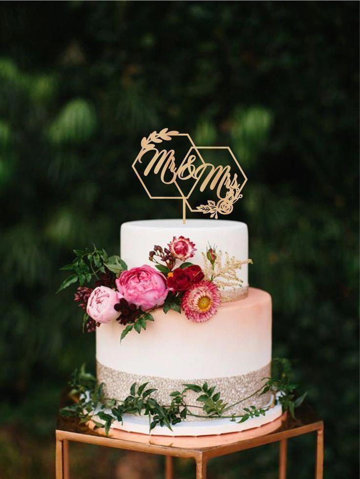 Geometric wedding cake topper Hexagon mr mrs wedding topper   Etsy