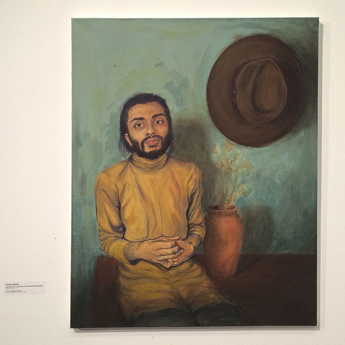 Self Portrait in a Mustard Turtleneck