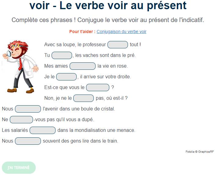Exercice De Conjugaison Le Verbe Voir Au Present Exercice De Francais Cm1 Exercice Verbe Exercices Conjugaison