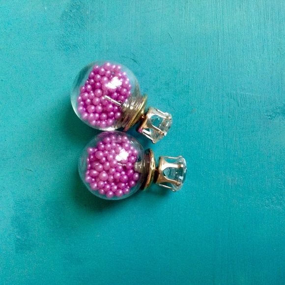 Brand New Double Sided Earrings Ball is filled with little beads. Super Cute!! O.S.S Jewelry Earrings