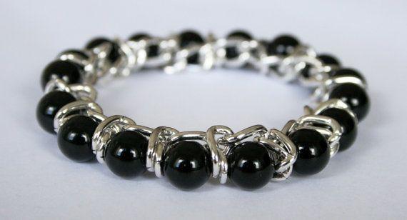 Black Onyx Bracelet for Women - Stretch Onyx Bracelet by LisbonGems, $25.00