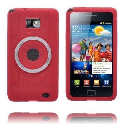 Kamera (Punainen) Samsung i9100 Galaxy S2 Silikonisuojus