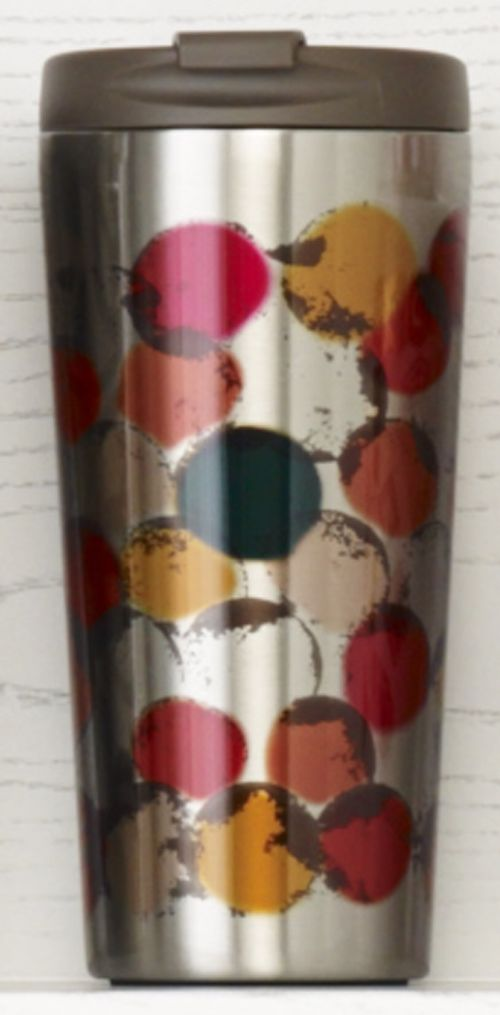 Insulated Stainless Steel Tumbler With A Colorful Polka Design And A