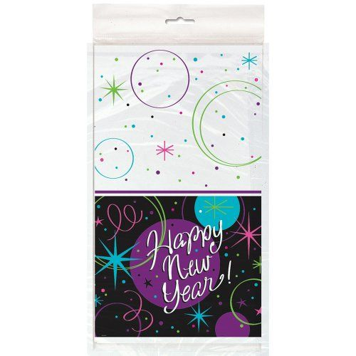 Stellar New Years Plastic Tablecloth - New Year's Eve ...