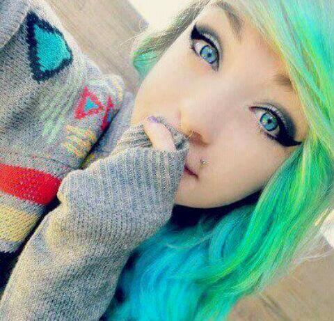 Snow Scene Hair Green Hair Blue Hair Cute Emo Girl Cute Scene