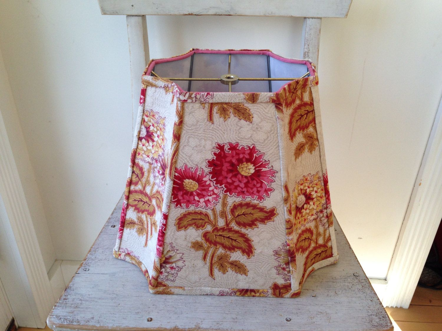 Funky Rectangle Lamp Shade Lampshade French Bark Cloth Rose Yellow And Loden Inverted Corners Designer Shape 11 High Awesome B Rectangle Lamp Shade Lamp Shades Vintage Textiles