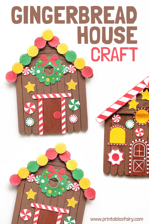 Photo of Popsicle Stick Gingerbread House Craft
