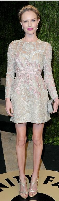 Kate Bosworth   Dress – Giambattista Valli    Purse – Rauwolf    Shoes – Casadei    Earrings – Janna Conner    Ring – Sylvie & Cie
