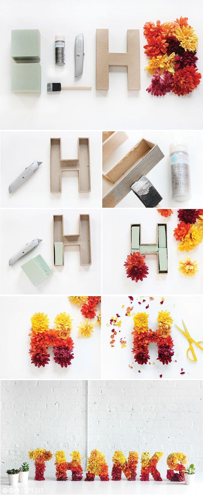 Tolle #Dekoration im #Frühling: Buchstaben aus Karton mit Blumen ...