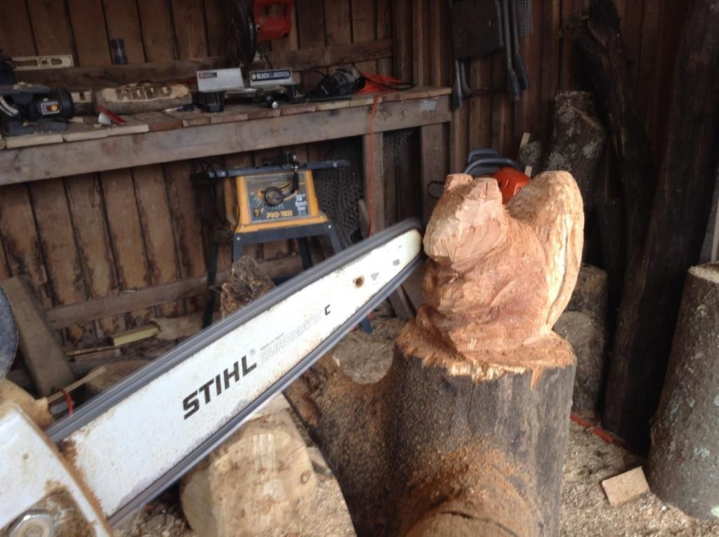 Chainsaw carved squirrel treasurewood carving